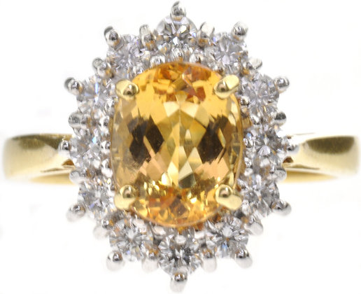 18ct gold yellow topaz and diamond ring front view