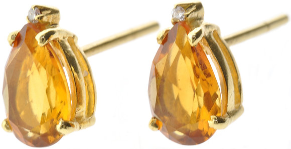 18ct yellow gold citrine and diamond stud earrings