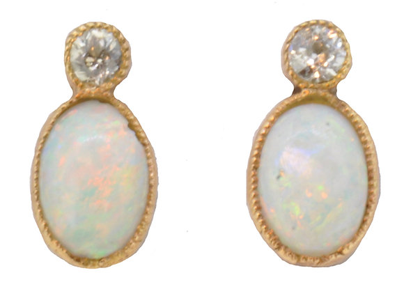 Antique Opal and Diamond Earrings