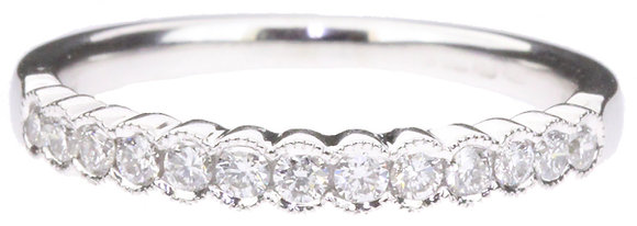 18ct white gold 0.26ct diamond half eternity ring front view
