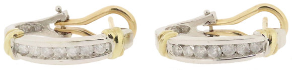 9ct yellow gold 0.40ct diamond hoop earrings front view