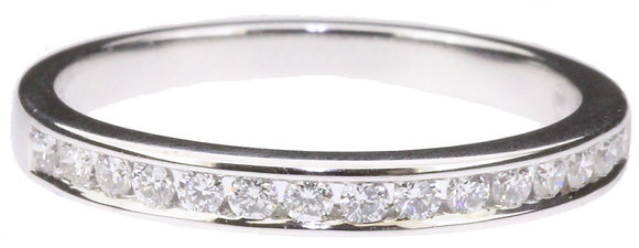 18ct white gold 0.23ct diamond half eternity ring front view