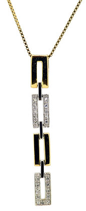9ct Yellow & White Gold Diamond Necklace