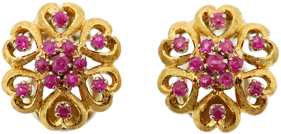 18ct yellow gold ruby cluster stud earrings