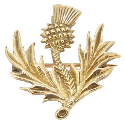 9ct yellow gold thistle brooch front view