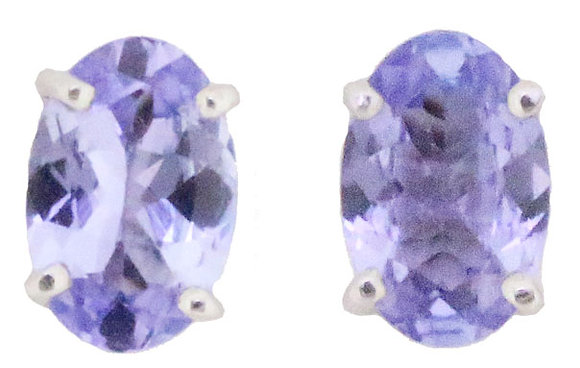 9ct white gold tanzanite stud earrings