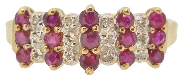 Yellow Gold Ruby and Diamond Ring Front View