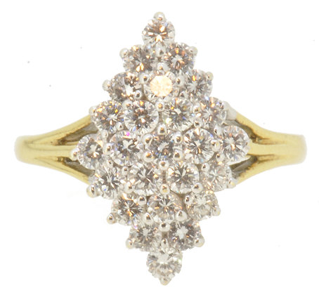 18ct yellow gold 1.00ct diamond marquise ring front view