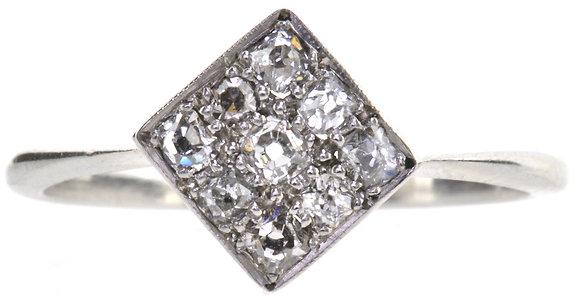 Platinum diamond ring front view
