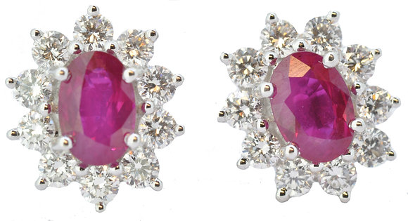 18ct white gold ruby and diamond stud earrings front view