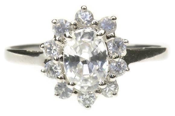 9ct White Gold CZ Cluster Ring