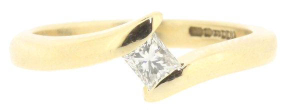 9ct yellow gold diamond cross-over ring front view