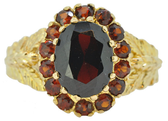 9ct yellow gold garnet ring front view