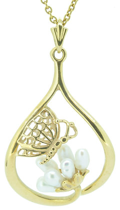 18ct yellow gold pearl butterfly necklace