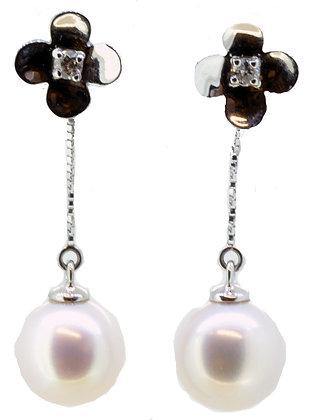 Diamond Flower Pearl Drop Earrings