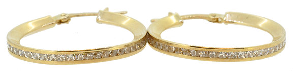9ct Yellow Gold CZ Hoops