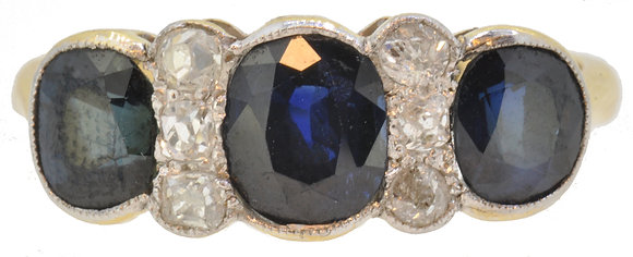 18ct yellow gold and platinum sapphire and diamond ring front view