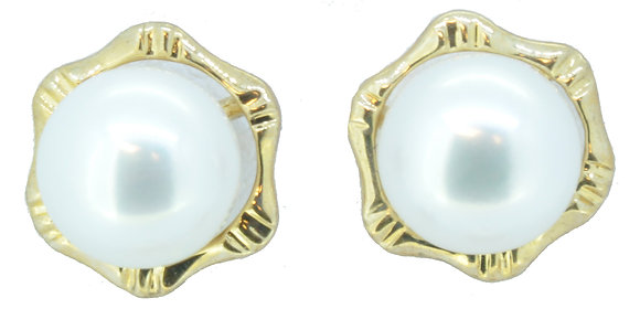 Yellow Gold Cultured Pearl Stud Earrings