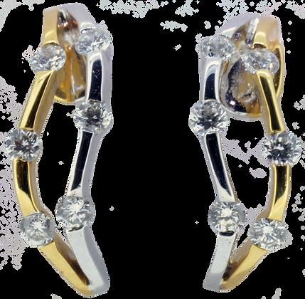 18ct two tone gold diamond earrings