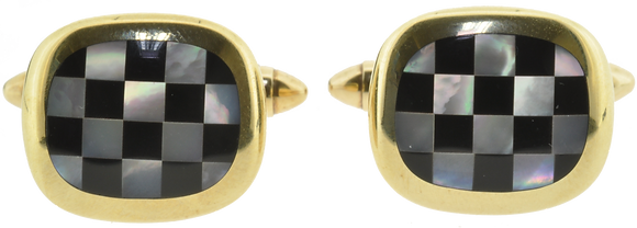 9ct yellow gold mother of pearl and onyx cufflinks front view