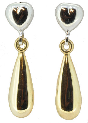 9ct gold two tone drop earrings