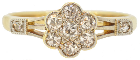 18ct yellow gold 0.31ct diamond daisy cluster ring front view
