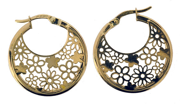 9ct yellow gold circle hoop earrings