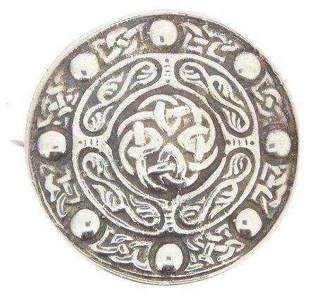 Silver Birmingham 1961 Celtic brooch front view