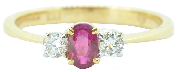 18ct yellow gold ruby and diamond ring front view