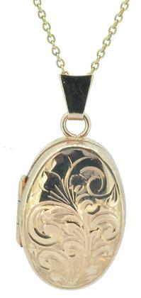 9ct rose gold oval engraved locket