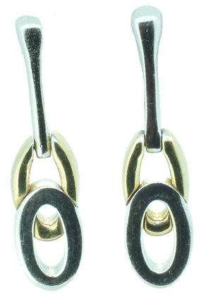 9ct gold two tone stud drop earrings