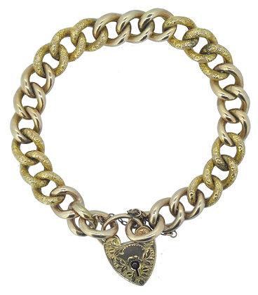 Antique Rose Gold Curb Heart Lock Bracelet