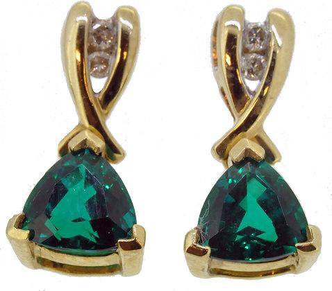 9ct Yellow Gold Synthetic Emerald & Diamond Earrings