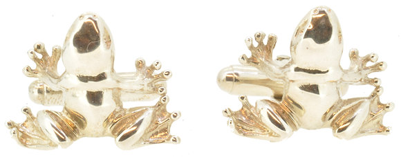 Silver Frog Cufflinks Front View
