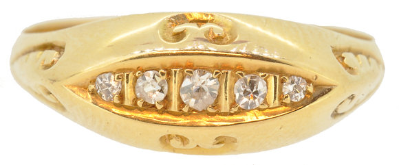 antique 18ct yellow gold diamond ring front view