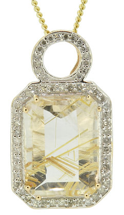 9ct yellow gold rutilated quartz and diamond pendant front view