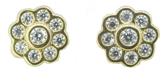 9ct Yellow Gold CZ Flower Stud Earrings