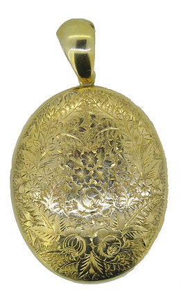 Antique 15ct Gold Oval Locket Front View