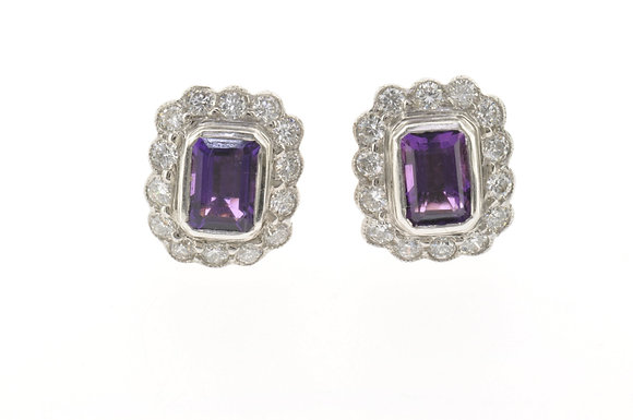 18ct gold amethyst and diamond stud earrings front view