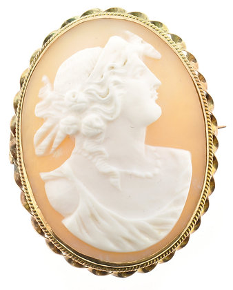 Antique gold cameo brooch front view