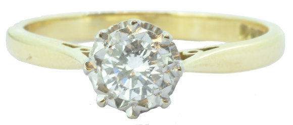 18ct yellow gold 0.30ct diamond single stone ring front view