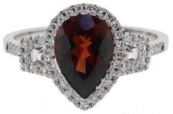 18ct White Gold Garnet, Zircon & Diamond Ring