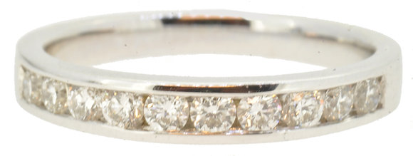 18ct white gold 0.50ct diamond half eternity ring front view