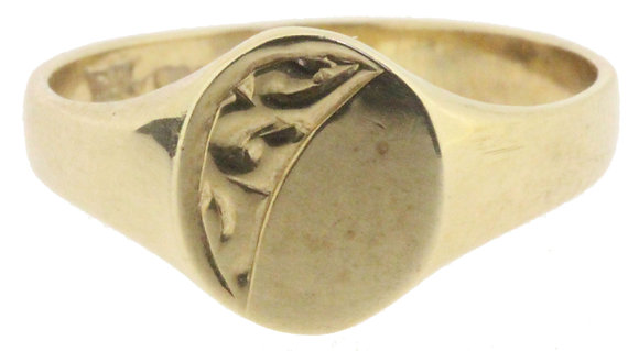 9ct yellow gold baby signet ring front view