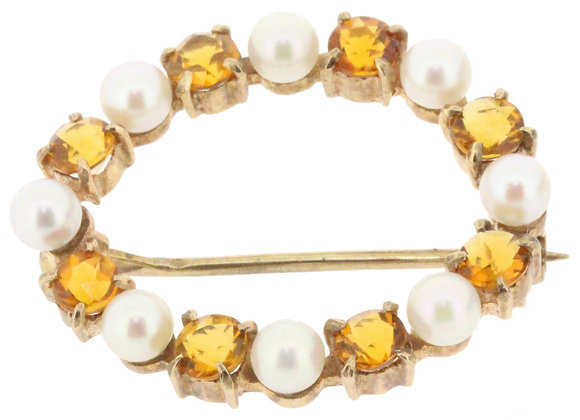 9ct yellow gold citrine and pearl circle brooch