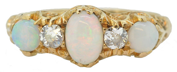 antique 18ct yellow gold opal and diamond ring front view
