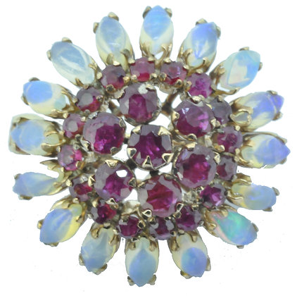 Yellow Gold Ruby and Opal Brooch