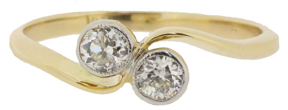 Antique gold and platinum 0.40ct diamond cross-over ring front view