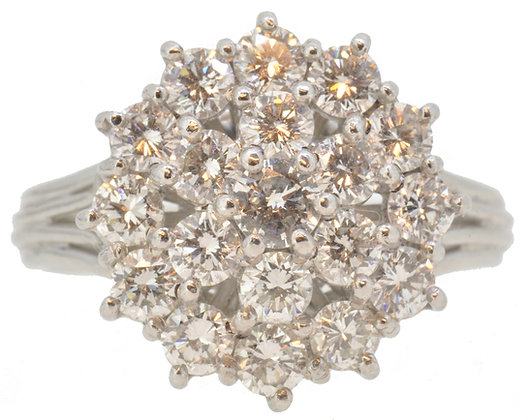 Platinum 19 stone diamond cluster ring front view