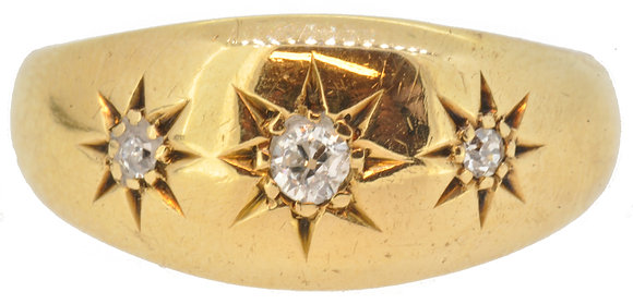 Antique 18ct yellow gold 0.15ct diamond ring front view